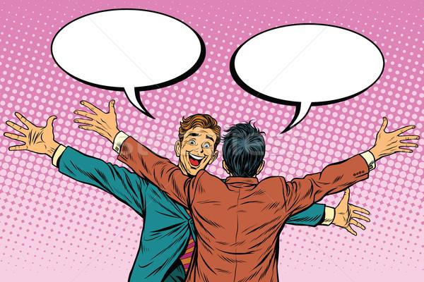 二人の男性 楽しく 友情 ポップアート レトロな ストックフォト © studiostoks