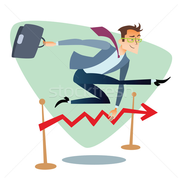 Businessman running and jumping over barriers schedule of sales  Stock photo © studiostoks