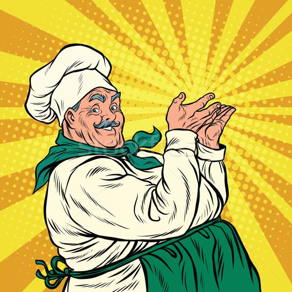Chef professional pose presenting Stock photo © studiostoks