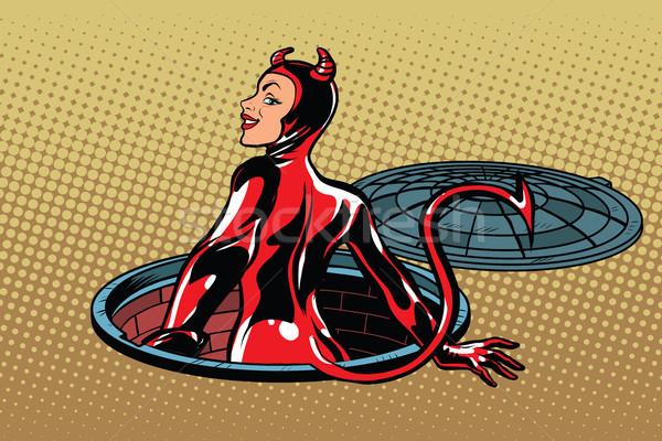 Rouge diable fille enfer pop art rétro Photo stock © studiostoks