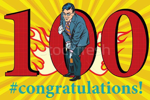 Gratulacje 100 rocznicy przypadku uroczystości szczęśliwy Zdjęcia stock © studiostoks