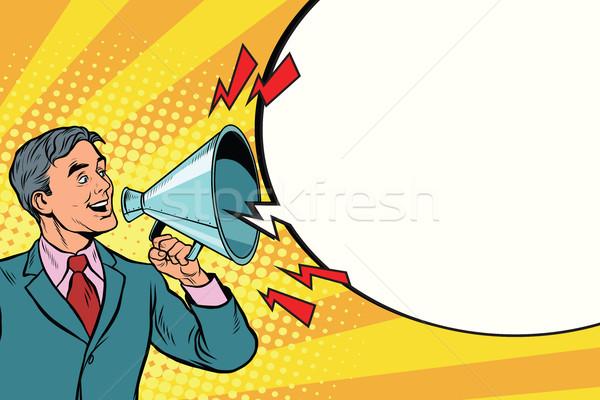 Klasszikus hangszóró megafon kiált pop art retro Stock fotó © studiostoks