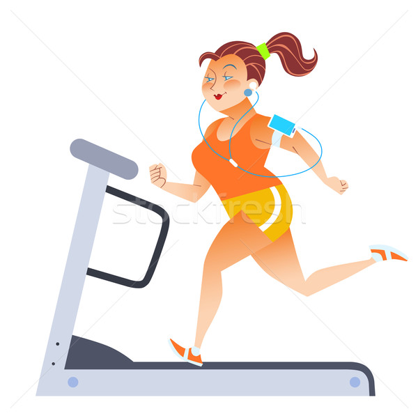 Fat woman on sport stationary treadmill Stock photo © studiostoks