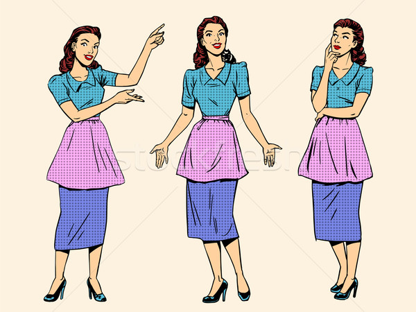 набор ретро домохозяйка женщину жена девушки Сток-фото © studiostoks