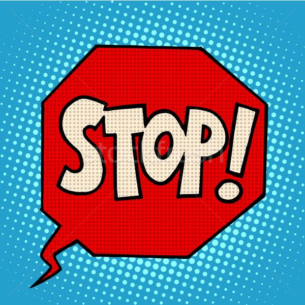 Dur işareti uyarı simge pop art retro tarzı kırmızı Stok fotoğraf © studiostoks
