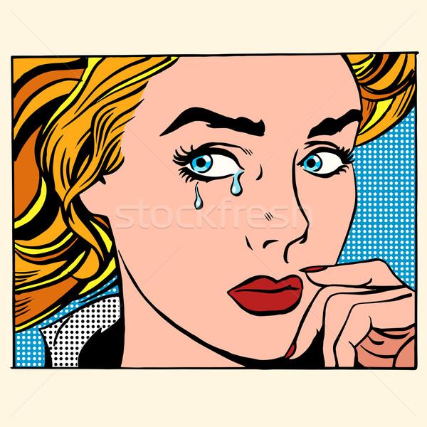 Meisje huilen vrouw gezicht pop art retro-stijl kaukasisch Stockfoto © studiostoks
