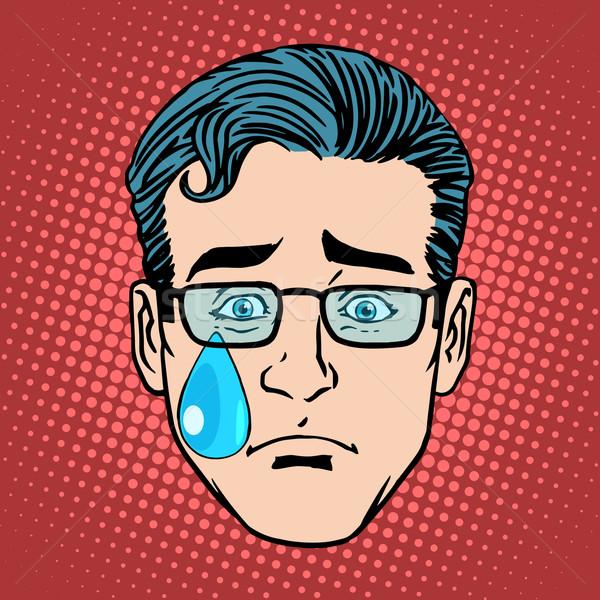 Cri tristesse homme visage icône symbole Photo stock © studiostoks