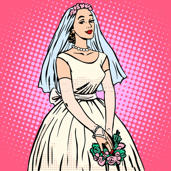 Bride in white wedding dress pop art retro style Stock photo © studiostoks