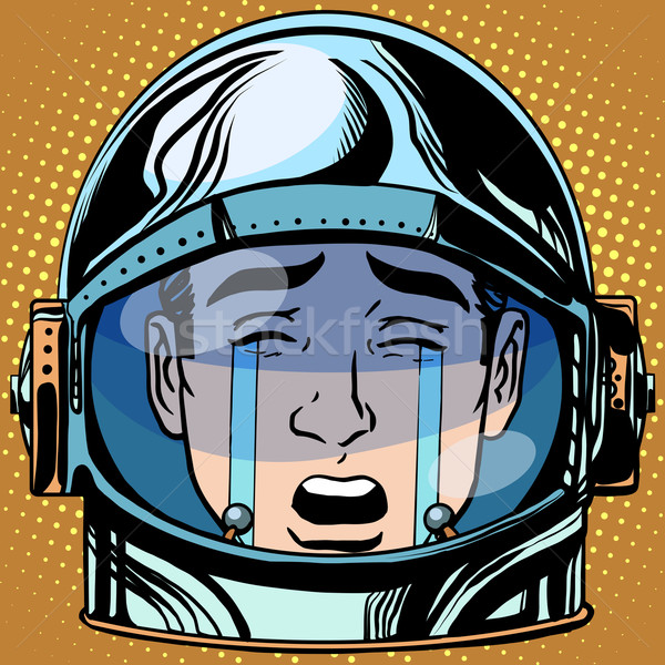 emoticon tears roar Emoji face man astronaut retro Stock photo © studiostoks