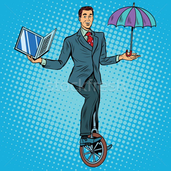 ビジネスマン 一輪車 ビジネス バランス ポップアート レトロスタイル ストックフォト © studiostoks