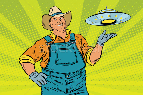 Rural farmer and UFO Stock photo © studiostoks