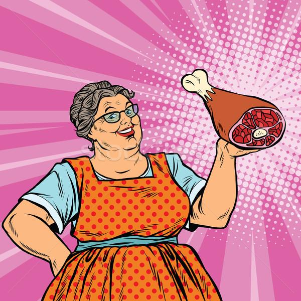 Glimlachend retro oude vrouw vlees been pop art Stockfoto © studiostoks