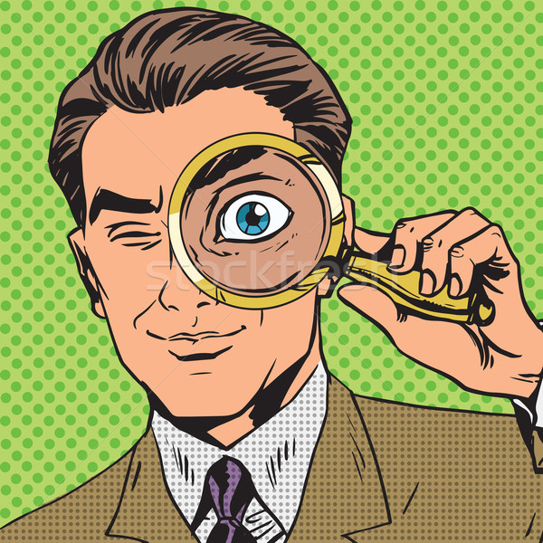 The man is a detective looking through magnifying glass search p Stock photo © studiostoks