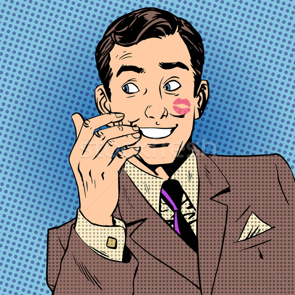 Homme baiser visage rouge à lèvres rouge style art Photo stock © studiostoks
