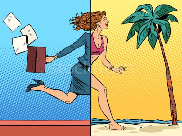 üzletasszony álmodik vakáció tenger pop art retró stílus Stock fotó © studiostoks