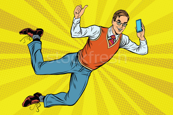 Flying hipster with a smartphone Stock photo © studiostoks