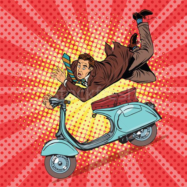 Mannelijke bestuurder ongeval pop art retro Stockfoto © studiostoks