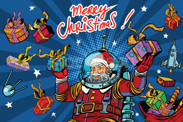 Space Santa Claus in zero gravity with Christmas gifts Stock photo © studiostoks