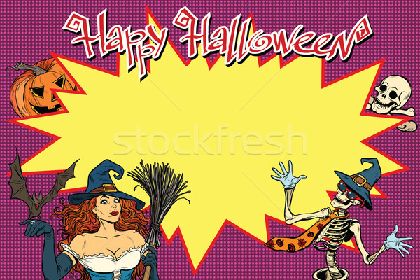 Stock photo: Happy Halloween background with witch, skeleton and pumpkin