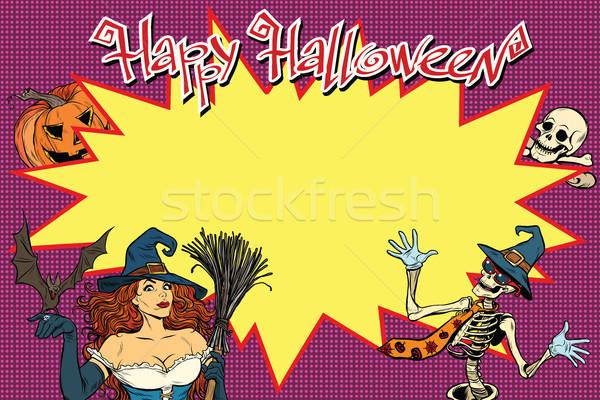 счастливым Хэллоуин ведьмой скелет тыква Поп-арт Сток-фото © studiostoks