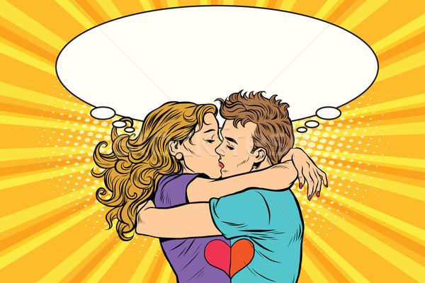 Stockfoto: Liefde · paar · kus · jongen · meisje · valentijnsdag