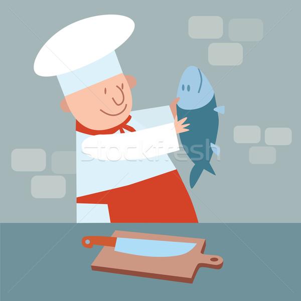Cook cut up fresh fish. chef in kitchen Stock photo © studiostoks