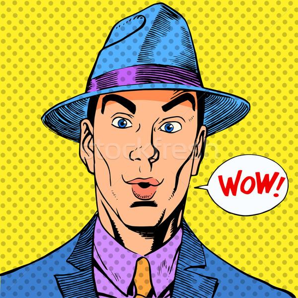 Meglepődött elegáns vicces férfi úriember kalap Stock fotó © studiostoks