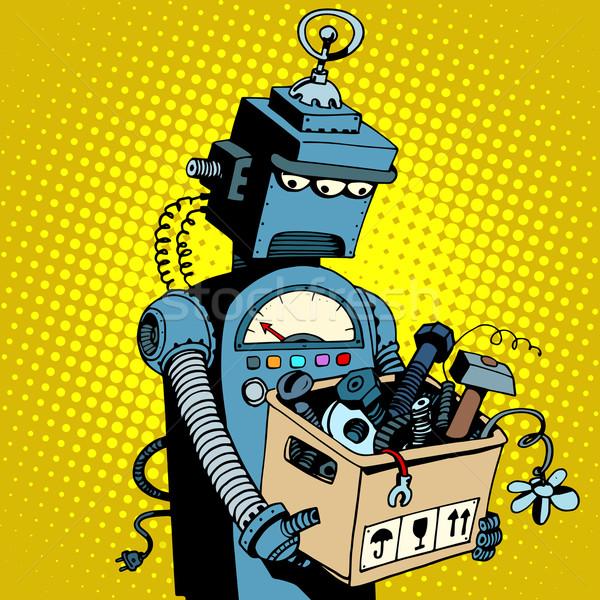Triste retro robô folhas trabalhar Foto stock © studiostoks