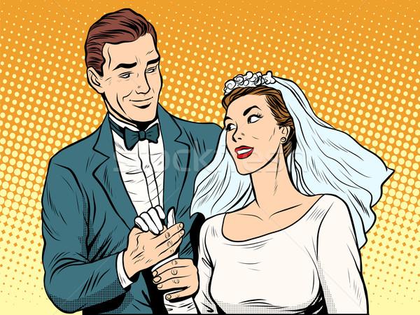 Wedding betrothal engagement groom bride love Stock photo © studiostoks