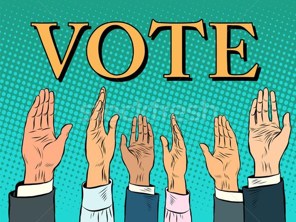 Szavazás kéz felfelé hang támogatás pop art Stock fotó © studiostoks