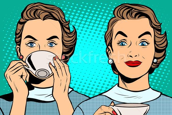 Kız fincan çay kahve pop art retro tarzı Stok fotoğraf © studiostoks