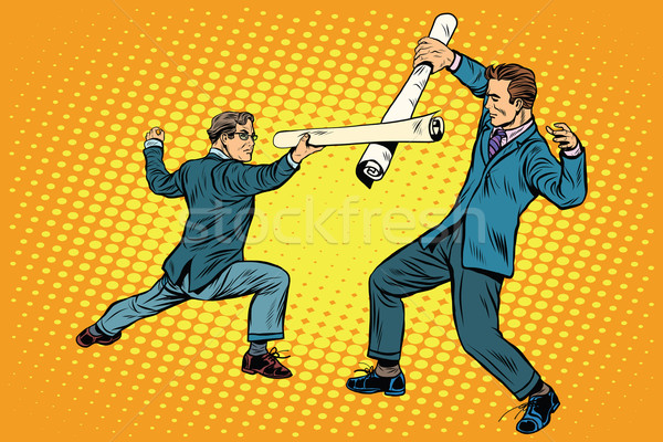 Stock photo: Businessmen fencing competition ideas