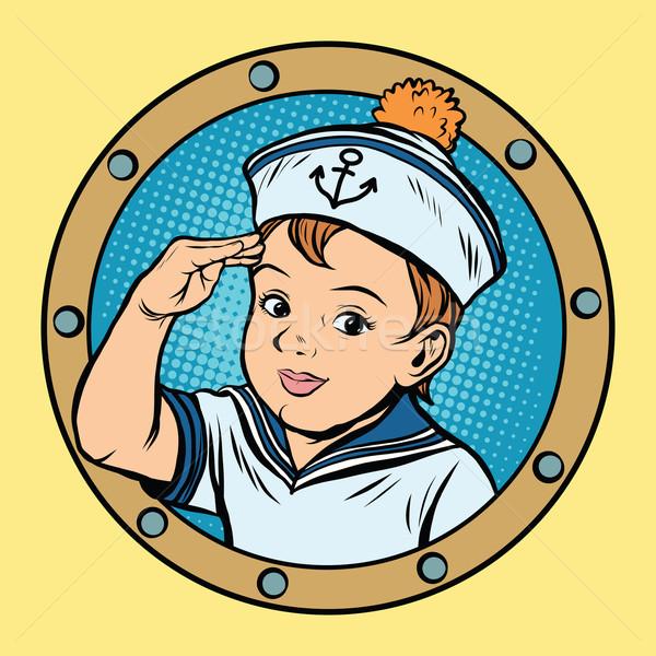 Criança marinheiro navio crianças jogo retro Foto stock © studiostoks