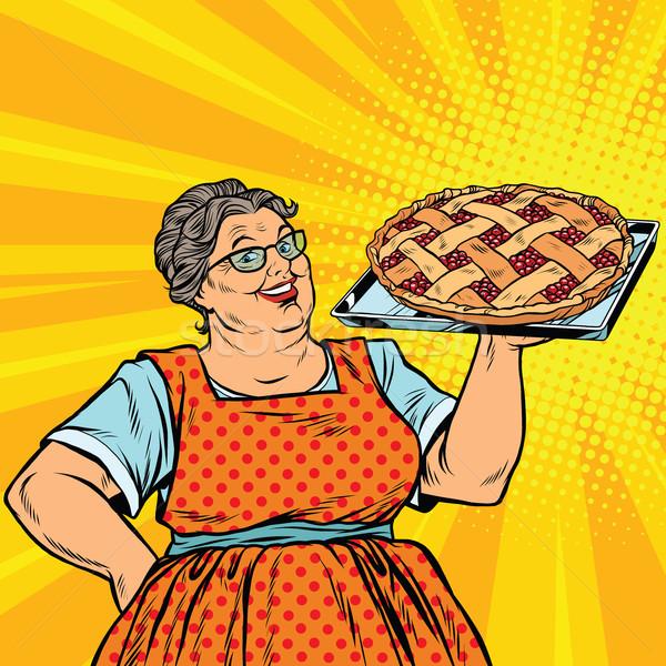 öreg örömteli retro nő bogyó pite Stock fotó © studiostoks