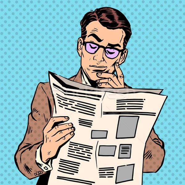 Man krant ochtend lezing druk informatie Stockfoto © studiostoks