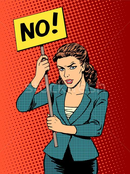 Empresária protesto cartaz não Foto stock © studiostoks