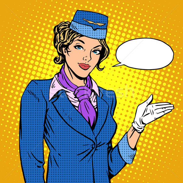 Stewardess airline invites you to Board Stock photo © studiostoks