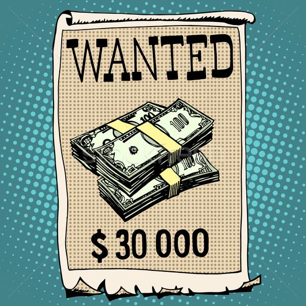 Affiche recherché criminelle récompenser pop art style rétro Photo stock © studiostoks