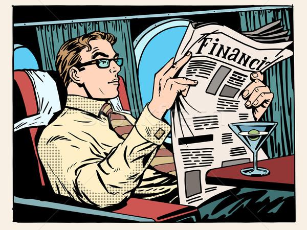 бизнеса класс плоскости бизнесмен прессы чтение Сток-фото © studiostoks
