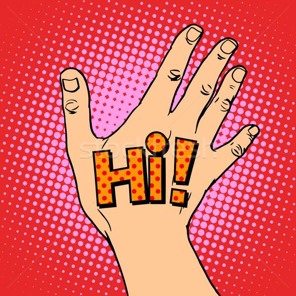 Human hand greeting hi Stock photo © studiostoks
