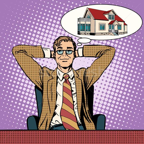 Droom home pop art retro-stijl kopen Stockfoto © studiostoks