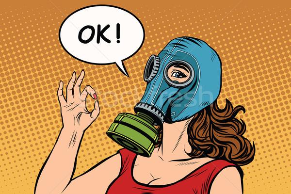 Máscara de gas bueno gesto arte pop retro Foto stock © studiostoks