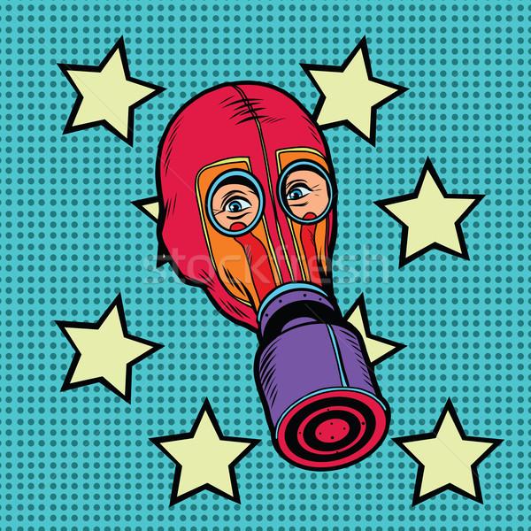 Stok fotoğraf: Gaz · maskesi · bağbozumu · kırmızı · kauçuk · pop · art · Retro