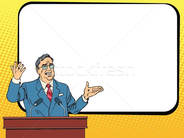 Boss business man speaking at podium, lecture or presentation Stock photo © studiostoks