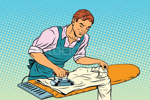 Vintage employee ironed clothes Stock photo © studiostoks