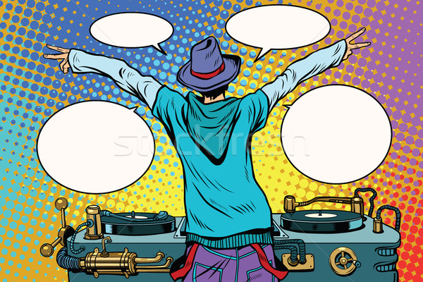 DJ party vinyl panel, view from behind Stock photo © studiostoks