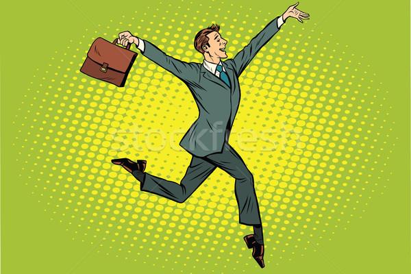 Elegante engraçado empresário pasta corrida na ponta dos pés Foto stock © studiostoks