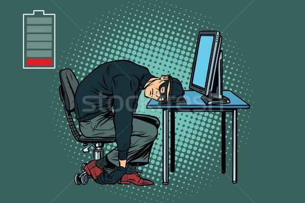 Tired hacker is asleep Stock photo © studiostoks