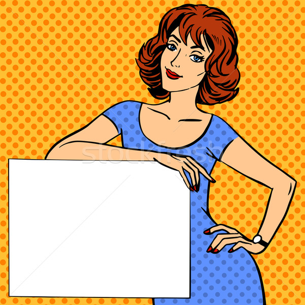 woman with poster place for text Pop art vintage comic Stock photo © studiostoks