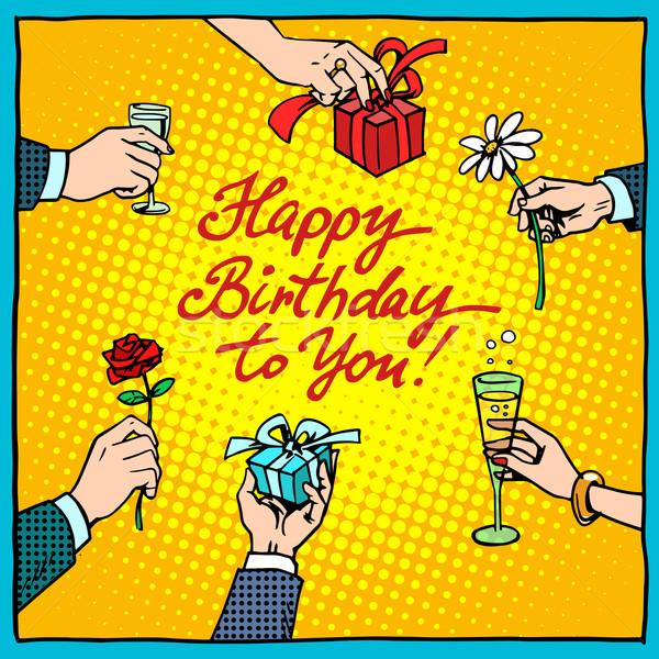 Stockfoto: Gelukkige · verjaardag · geschenken · gefeliciteerd · pop · art · retro-stijl · hand